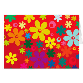 Groovy Hippie Colorful Flowers Love Peace Pattern Card