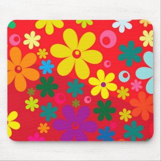 Groovy Hippie Colorful Flowers Love Peace Pattern Mousepad