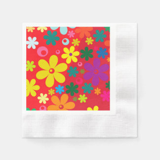 Groovy Hippie Colorful Flowers Love Peace Pattern Napkin