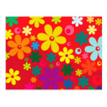 Groovy Hippie Colorful Flowers Love Peace Pattern Postcard