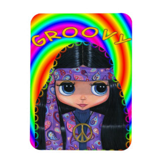 Groovy Hippie Girl Doll Peace Sign Cute Big Eyes Magnet