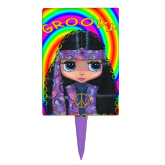 Groovy Hippie Girl in Purple Paisley Cake Topper