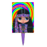 Groovy Hippie Girl in Purple Paisley Cake Toppers