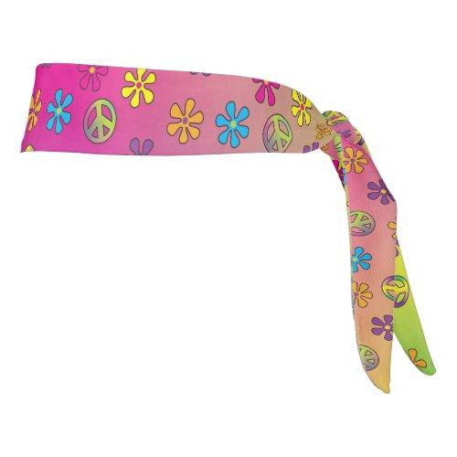 Groovy Hippie Peace and Flower Shower Tie Dye Tie Headband