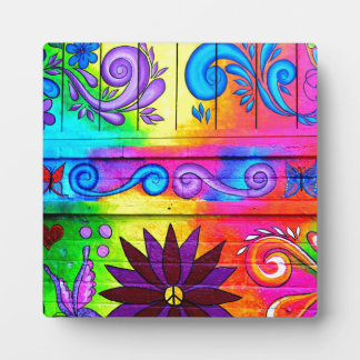 groovy hippie peace love plaque