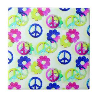 Groovy Hippie Peace Signs Flower Power Aqua Ceramic Tile