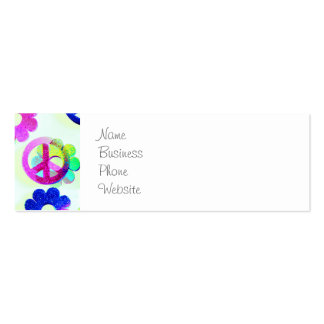 Groovy Hippie Peace Signs Flower Power Aqua Mini Business Card
