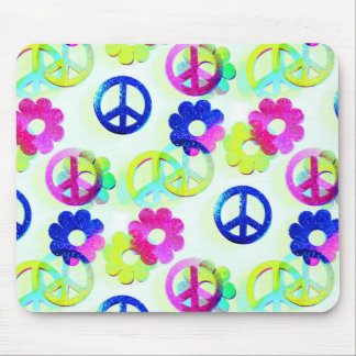 Groovy Hippie Peace Signs Flower Power Aqua Mouse Pad