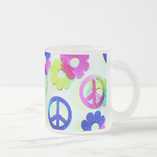 Groovy Hippie Peace Signs Flower Power Aqua 10 Oz Frosted Glass Coffee Mug