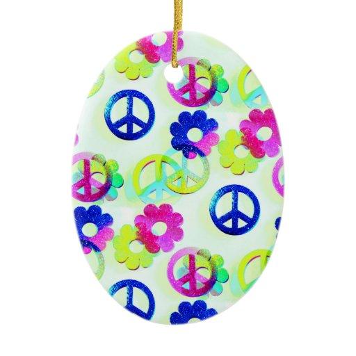 Christmas Tree Flower Power : Groovy hippie peace signs flower power aqua christmas tree