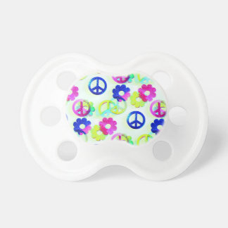 Groovy Hippie Peace Signs Flower Power Aqua Pacifier