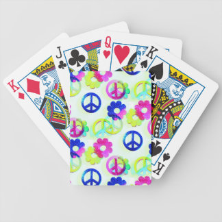 Groovy Hippie Peace Signs Flower Power Aqua Bicycle Card Deck