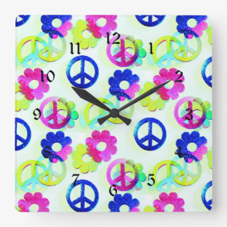 Groovy Hippie Peace Signs Flower Power Aqua Square Wall Clock