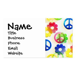 Groovy Hippie Peace Signs Flower Power Sparkle Business Card