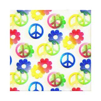 Groovy Hippie Peace Signs Flower Power Sparkle Canvas Print
