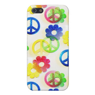 Groovy Hippie Peace Signs Flower Power Sparkle iPhone 5 Cover
