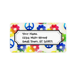 Groovy Hippie Peace Signs Flower Power Sparkle Label
