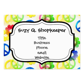 Groovy Hippie Peace Signs Flower Power Sparkle Large Business Card