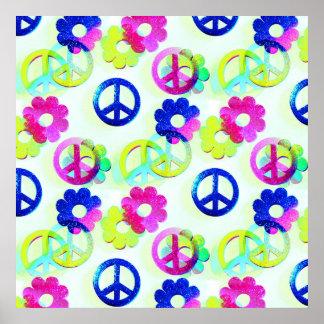 Groovy Hippie Peace Signs Flower Power Sparkle Pat