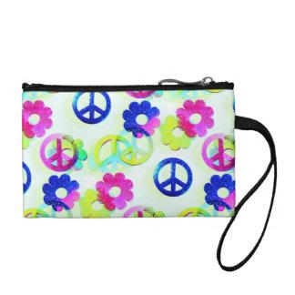 Groovy Hippie Peace Signs Flower Power Sparkle Pat Coin Purse