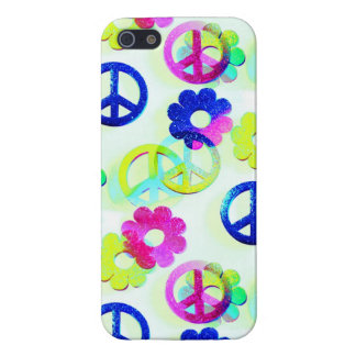 Groovy Hippie Peace Signs Flower Power Sparkle Pat Cover For iPhone SE/5/5s