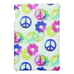 Groovy Hippie Peace Signs Flower Power Sparkle Pat iPad Mini Covers