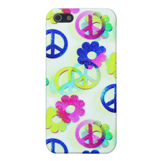 Groovy Hippie Peace Signs Flower Power Sparkle Pat iPhone 5/5S Covers