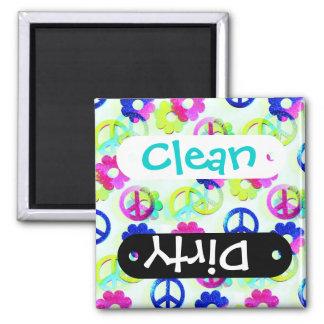 Groovy Hippie Peace Signs Flower Power Sparkle Pat Magnet