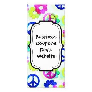 Groovy Hippie Peace Signs Flower Power Sparkle Pat Customized Rack Card