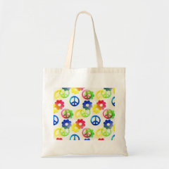 Groovy Hippie Peace Signs Flower Power Sparkles Bag