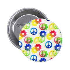 Groovy Hippie Peace Signs Flower Power Sparkles Pinback Button