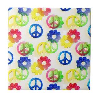 Groovy Hippie Peace Signs Flower Power Sparkles Ceramic Tile