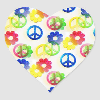 Groovy Hippie Peace Signs Flower Power Sparkles Heart Sticker