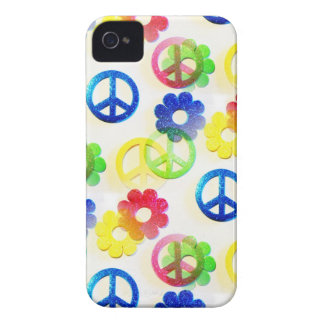 Groovy Hippie Peace Signs Flower Power Sparkles iPhone 4 Case-Mate Case
