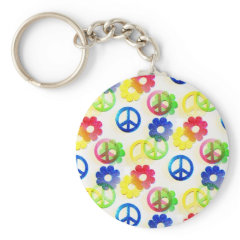 Groovy Hippie Peace Signs Flower Power Sparkles Keychains
