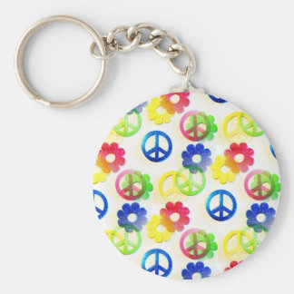 Groovy Hippie Peace Signs Flower Power Sparkles Keychain