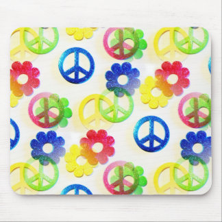 Groovy Hippie Peace Signs Flower Power Sparkles Mouse Pad