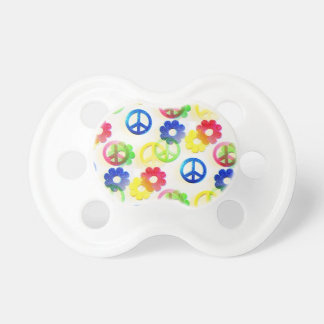 Groovy Hippie Peace Signs Flower Power Sparkles Pacifier