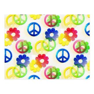 Groovy Hippie Peace Signs Flower Power Sparkles Postcard
