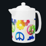 """Groovy Hippie Peace Signs Flower Power Sparkles Teapot<br><div class=""""desc"""">Groovy Hippie Peace Signs Flower Power Sparkle Pattern &quot;hippie&quot; &quot;groovy&quot; &quot;peace&quot; &quot;peace signs&quot; &quot;flowers&quot; &quot;flower power&quot; &quot;girly&quot; &quot;teens&quot; &quot;colorful&quot; &quot;color&quot; &quot;rainbow&quot; &quot;pretty patterns&quot; &quot;teen&quot; &quot;fun&quot; &quot;bright&quot; &quot;sparkle&quot; &quot;glitter&quot;</div>"""