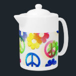 "Groovy Hippie Peace Signs Flower Power Sparkles Teapot<br><div class=""desc"">Groovy Hippie Peace Signs Flower Power Sparkle Pattern &quot;hippie&quot; &quot;groovy&quot; &quot;peace&quot; &quot;peace signs&quot; &quot;flowers&quot; &quot;flower power&quot; &quot;girly&quot; &quot;teens&quot; &quot;colorful&quot; &quot;color&quot; &quot;rainbow&quot; &quot;pretty patterns&quot; &quot;teen&quot; &quot;fun&quot; &quot;bright&quot; &quot;sparkle&quot; &quot;glitter&quot;</div>"
