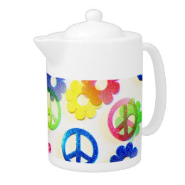 Groovy Hippie Peace Signs Flower Power Sparkles Teapot