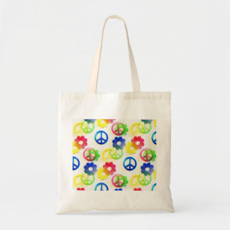 Groovy Hippie Peace Signs Flower Power Sparkles Tote Bag