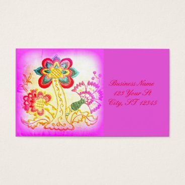 Professional Business groovy hippie-style palm tree pink business card