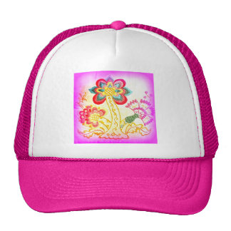 groovy hippie-style palm tree pink hat