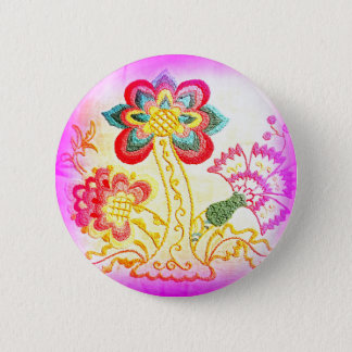 groovy hippie-style pink palm tree button
