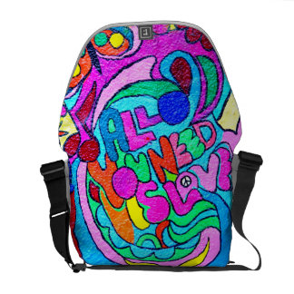 groovy hippie style wild colors love messenger bag