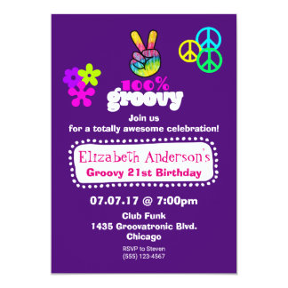 Groovy Hippie Theme Birthday Party Card
