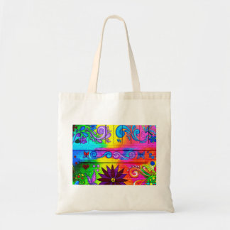 groovy hippie tote bag
