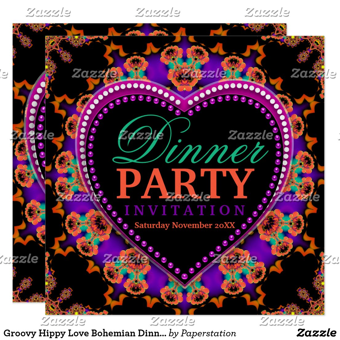 Groovy Hippy Love Bohemian Dinner Party Card by Paperstation